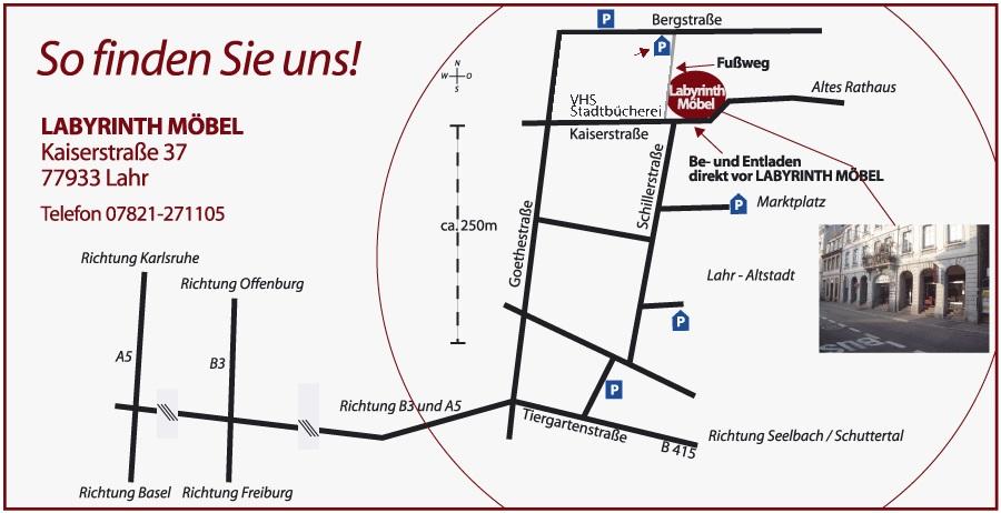 Anfahrtsbeschreibung Labyrinth Möbel